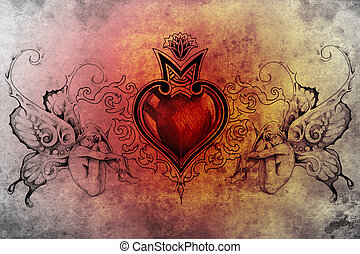 Tattoo art design, heart with two nymphs on each side -...