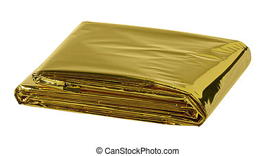space blanket - reflective space blanket on white background