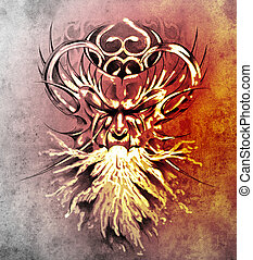 Sketch of tattoo art, monster mask with white fire