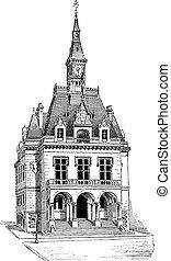 Town Hall at La Ferté-sous-Jouarre in Seine-et-Marne, Ile-de-France, France, vintage engraving