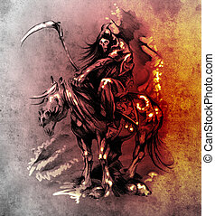 Bosquejo, tatuaje, arte, medieval, guerrero, caballo