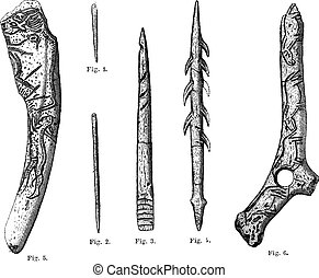 Magdalenian Tools and Weapons, vintage engraving