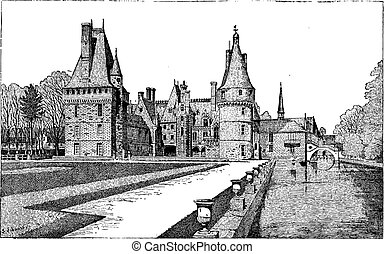 Maintenon Castle in Centre, France, vintage engraving -...