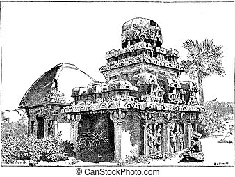 Mahabalipuram in Tamil Nadu, India, vintage engraving -...