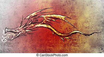 装飾用である, 入れ墨, スケッチ, ドラゴン, 流行, 芸術