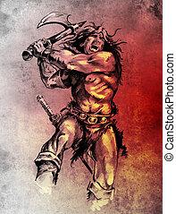 Bosquejo, tatuaje, arte, guerrero, lucha, grande, hacha