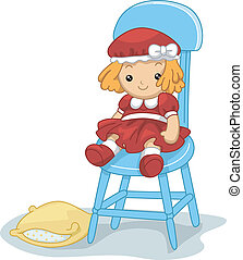 Rag Doll - Illustration of a Rag Doll Sitting on a Chair