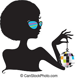 Silhouette Disco Ball - Silhouette of a Girl Holding a Disco...