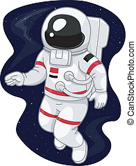 Astronaut - Illustration of an Austronaut Drifting in Space