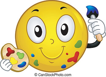 Painter Smiley - Illustration of a Smiley Holding a...