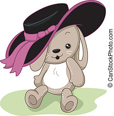 Rabbit Toy - Illustration of a Rabbit Toy Wearing a Hat