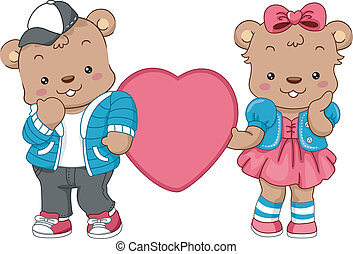 Teddy Bear Hearts - Illustration of a Pair of Teddy Bears...