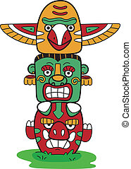 Totem Pole - Illustration of a Totem Pole