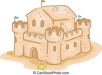 Sand Castle - Illustration of a Sand Castle by the Beach
