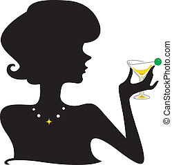 Cocktail Silhouette - Silhouette of a Girl Holding a...