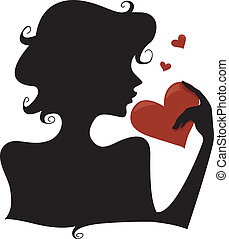 Silhouette Heart - Silhouette of a Girl Holding a Heart