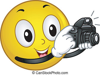 Photographer Smiley - Illustration of a Smiley Taking a...