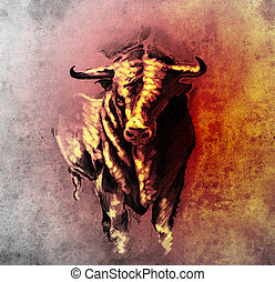 Sketch of tattoo art, spanish bull, dangerous bull with...