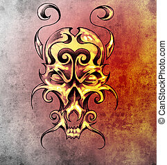 Sketch of tattoo art, monster mask with decorative elements