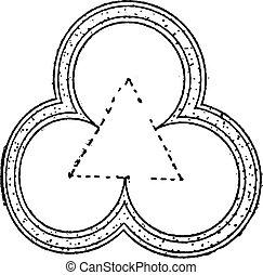 Three-leaf Clover Design, vintage engraving