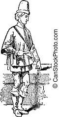 Journade, vintage engraving - Journade, garment worn by men...