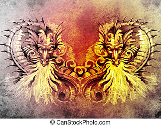 Sketch of tattoo art, fantasy medieval dragons heart