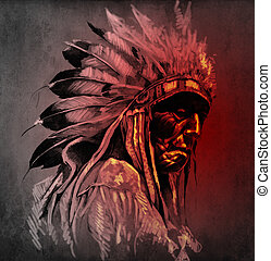 Tattoo art, portrait of american indian head over dark...
