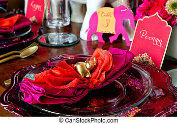 Indian Wedding - Image of the ceremony set up on the Mandap...