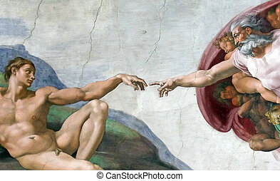 Gods finger touching Adam hand Adam creation by Michelangelo...