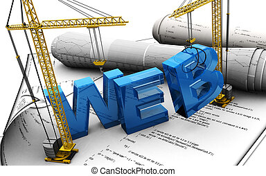 web design - 3d illustration of web design concept