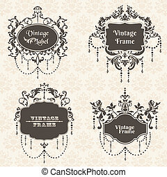 Vector Set: Vintage Frame collection with FLower elements - for your design and scrapbook