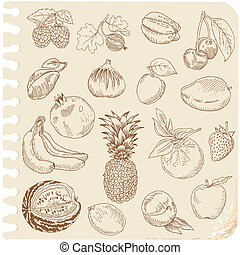 Set of Doodle Fruits - for scrapbook or design - hand drawn...