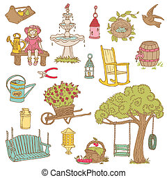 Colorful Summer Garden Doodles - for scrapbook, design in...