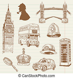Set of London doodles - for design and scrapbook - hand...