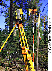 Geodetic instruments - Field Station, reflector and a wooden...