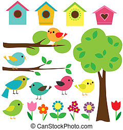 Set of birds - Set birds with birdhouses, trees and flowers