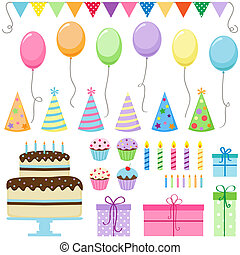 Birthday Party - Set of vector birthday party elements