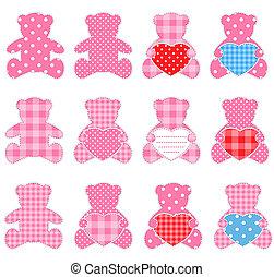 Twelve pink bears - Twelve pink teddy bears with hearts Nice...