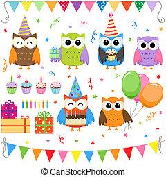 anniversaire, fête, Hiboux, ensemble