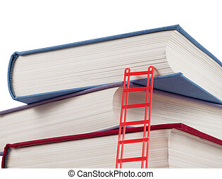 A stack of books with a ladder