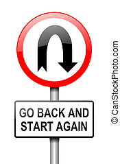 Start again. - Illustration depicting a red and white road...