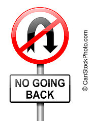 No going back. - Illustration depicting a red and white road...