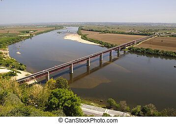 Tejo, Tagus Valley - River Tejo, Tagus, Valley, Santarem,...