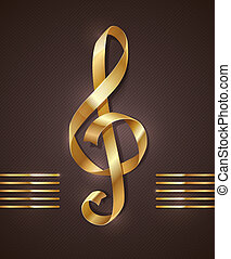 Gold ribbon - treble clef - Gold ribbon in the shape of...