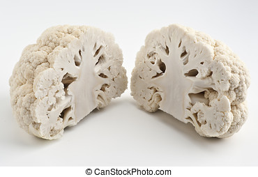 cauliflower cut in half (like a brain)
