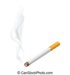 Realistic burning cigarette. Illustration on white...