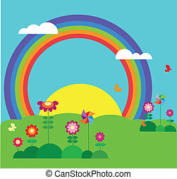 garden with butterfly, rainbow and flowers