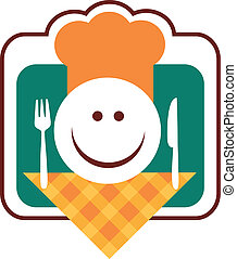 happy smiley chef face with fork and knife, illustration
