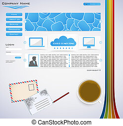Web site design - on desk with cup of coffee
