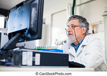 Senior researcher using a computer in the lab while working...